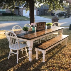 Farmhouse Table And Chairs With Bench Active Sitting Desk Chair Farm Etsy Set Made To Order