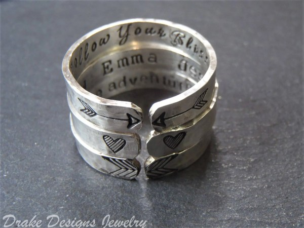 Sterling Silver Personalized Message Ring With