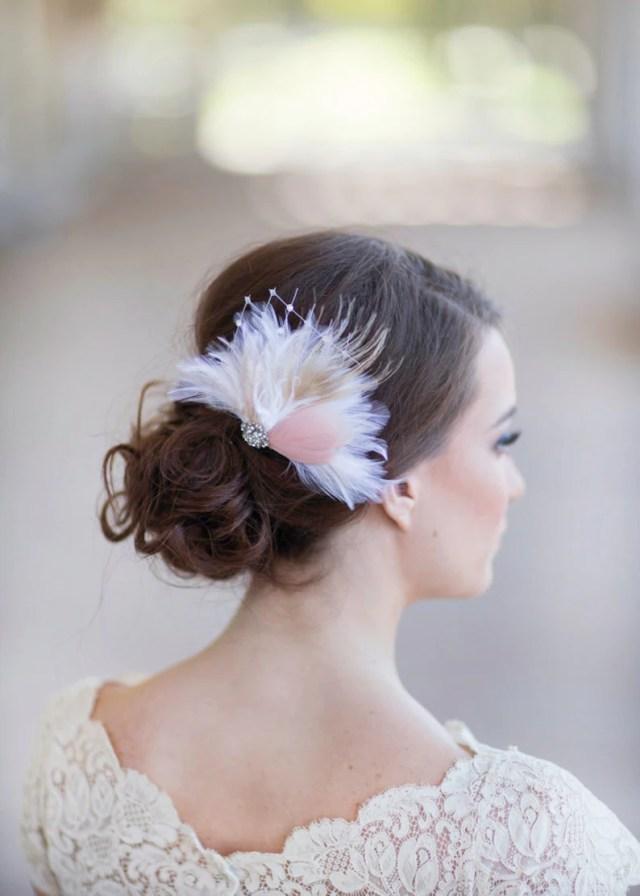 bridal feather hair clip, blush pink / ivory wedding hair accessories, wedding headpiece, bridal hair feather accessories style 259
