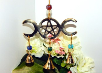 pagan wiccan decor altar chime wind outdoor goddess bells pentacle triple indoor moon