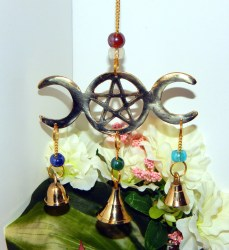 altar decor wiccan pagan chime goddess outdoor bells pentacle triple wind indoor moon