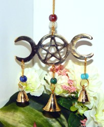 decor wiccan pagan altar chime goddess wind bells pentacle triple indoor moon outdoor