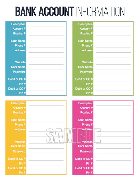 Bank Account Information Printable Fillable Personal Etsy