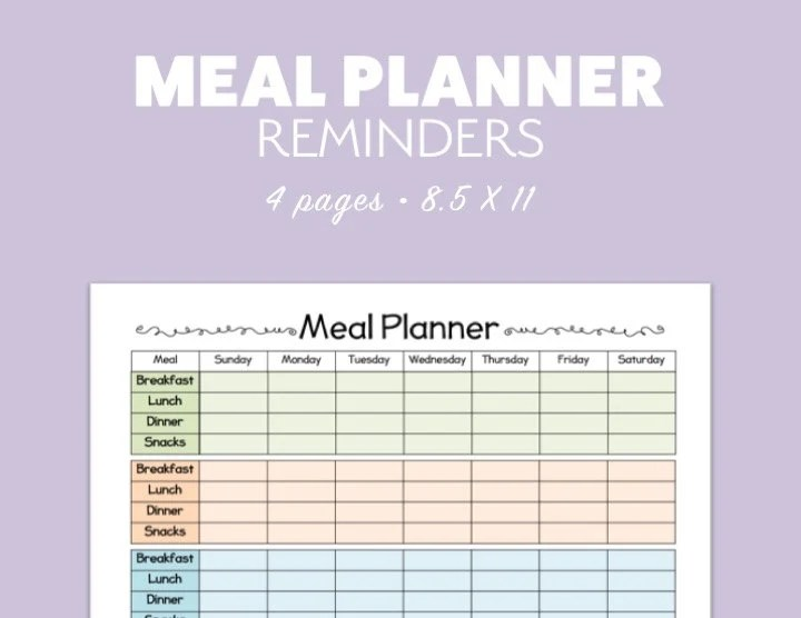 MEAL PLANNER 4 versions Printable template pdf landscape