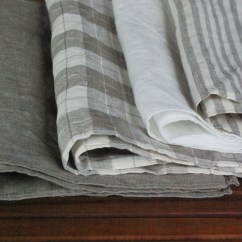 Gray Kitchen Towels Antique White Cabinets Linen Dish Set Of 4 Plain Etsy Checked Striped Hand Tea