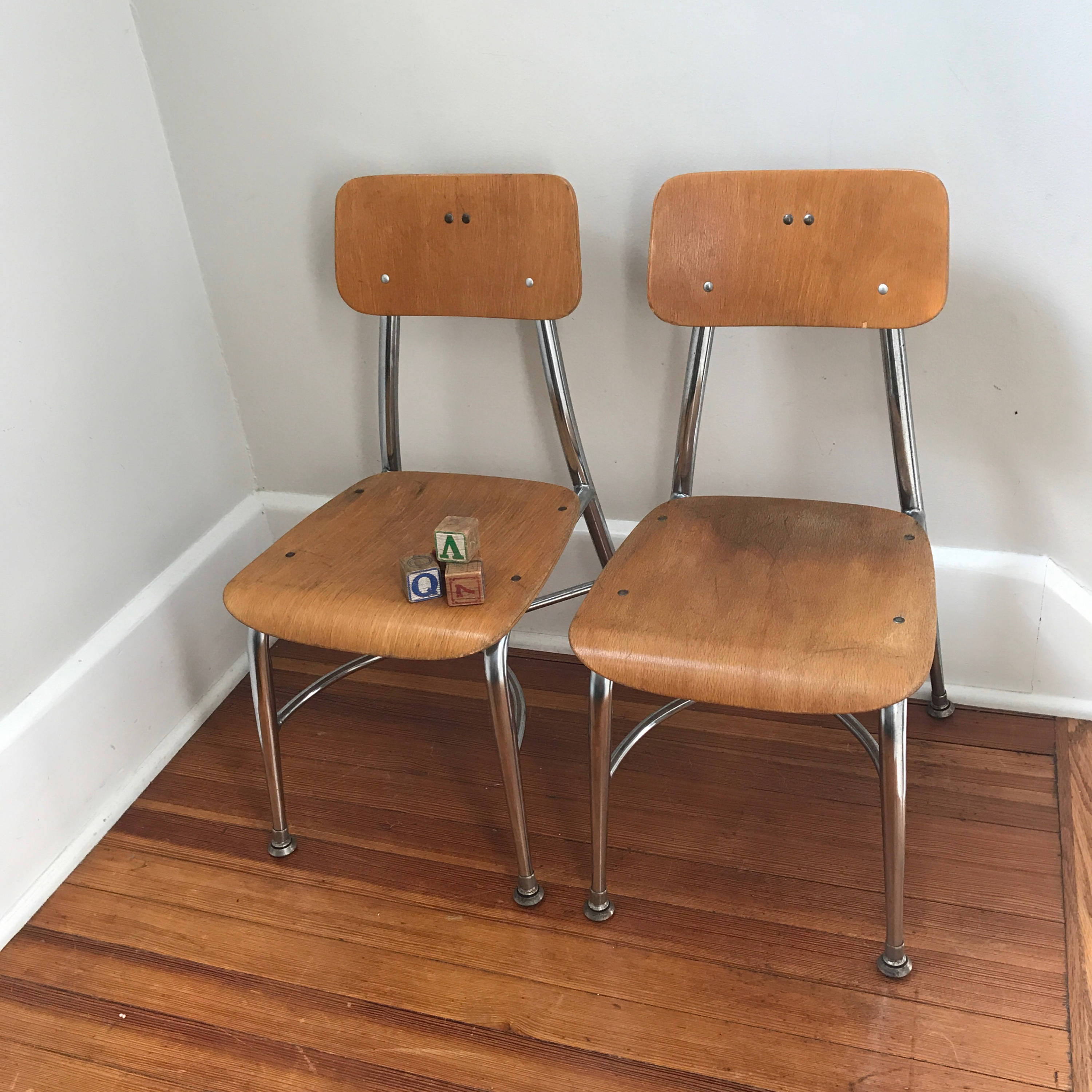 Vintage School Chairs Vintage Wood Metal School Chairs Child Size Heywood Wakefield Chairs Mid Century 12