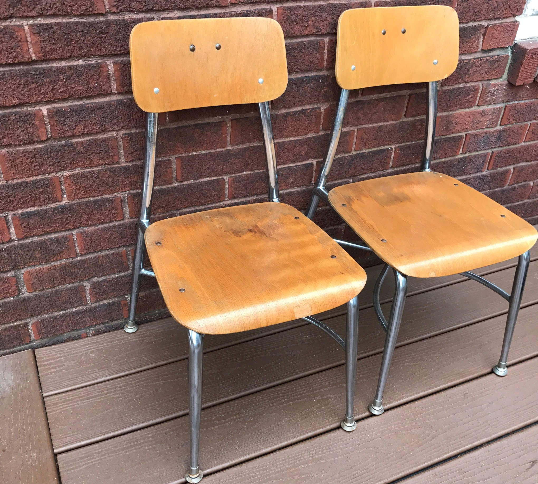 Vintage School Chairs Vintage Wood Metal School Chairs Heywood Wakefield Chairs Mid Century 13
