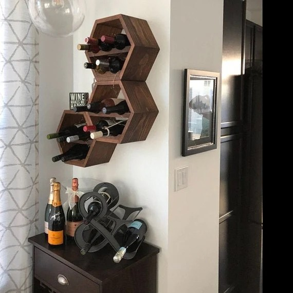Wood Wine Rack Kitchen Decor Wine Storage Gift Idea Unique Etsy