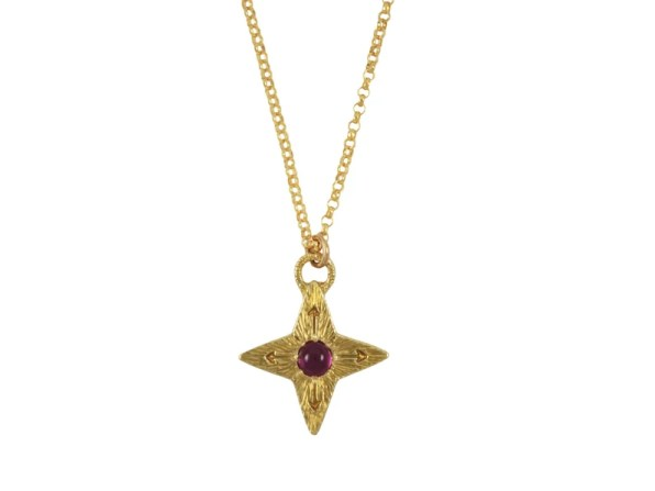 Ruby Compass Star Necklace Ruby Necklace July Birthstone