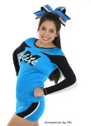 jumbo cheer bow blue cheetah