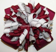 korker hair bow wine maroon gray
