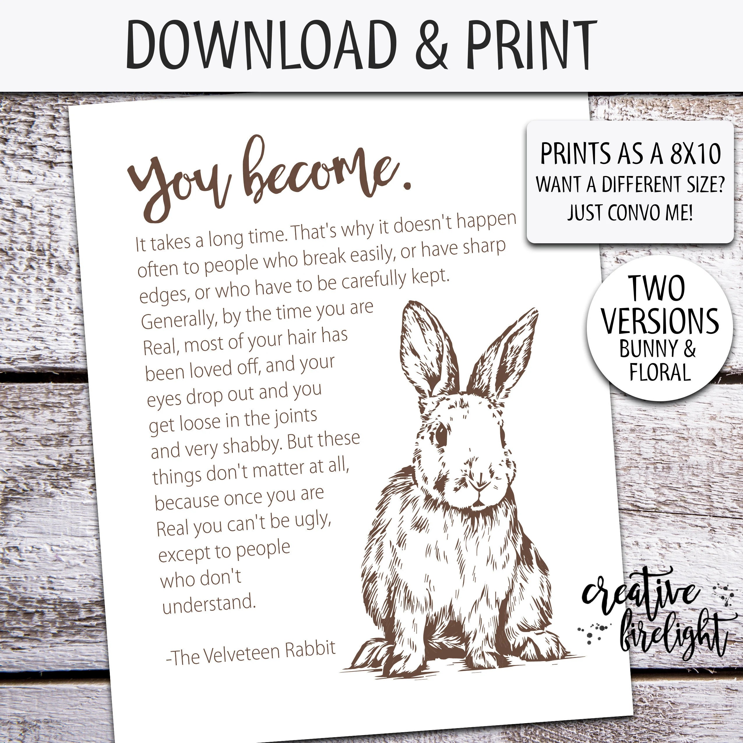 You Become Velveteen Rabbit Quote Printable Poster