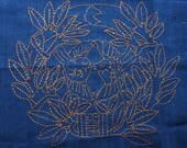 Sashiko Fabric / Japanese Vintage Fabric #001 Kamon with birds