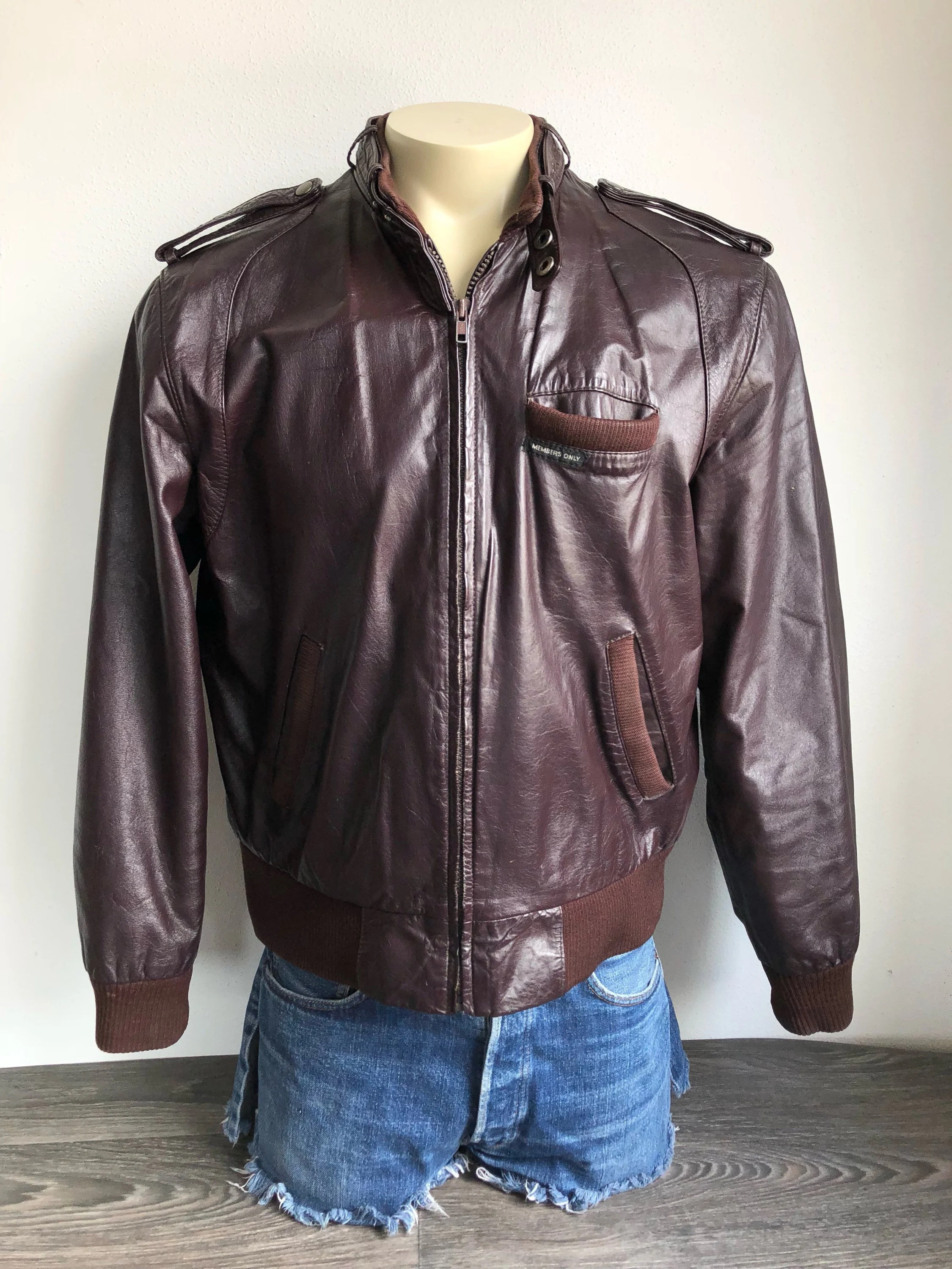 vintage members only leather jacket 80 s soft brown leather europe craft biker racer hipster cafe coat style fashion size 42