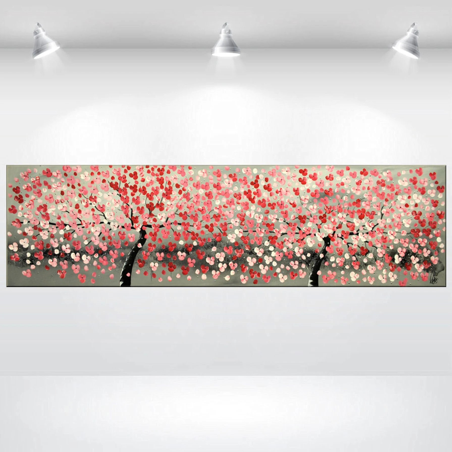 red cherry blossoms painting