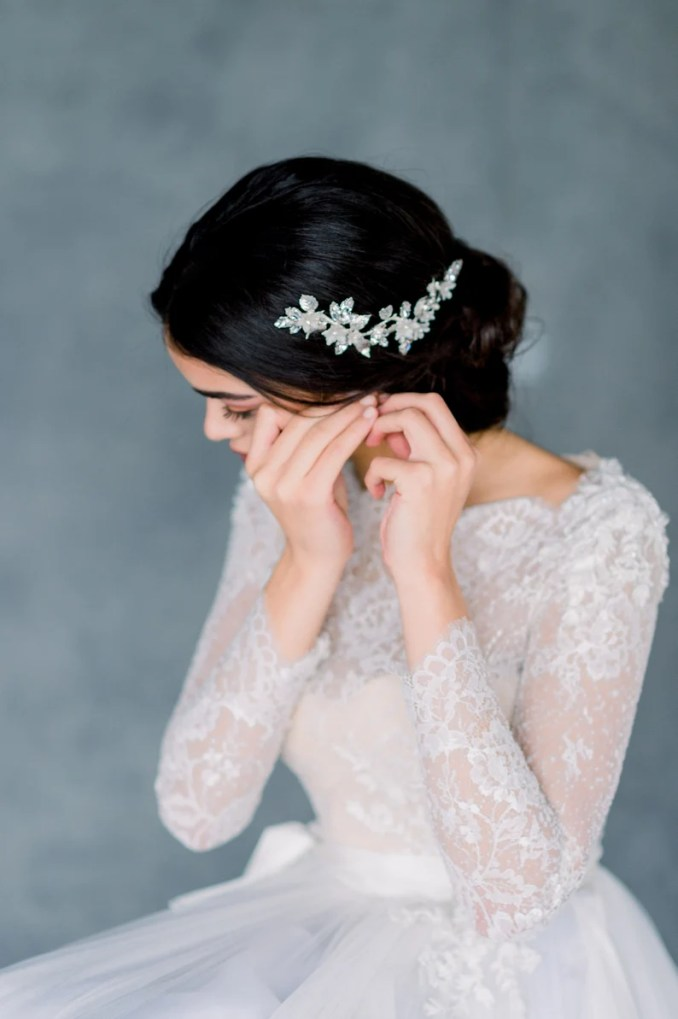 silver bridal hair comb, gold wedding hair vine, crystal headpiece, pearl hair accessory, flower hair adornment, hair piece for updo, gianna