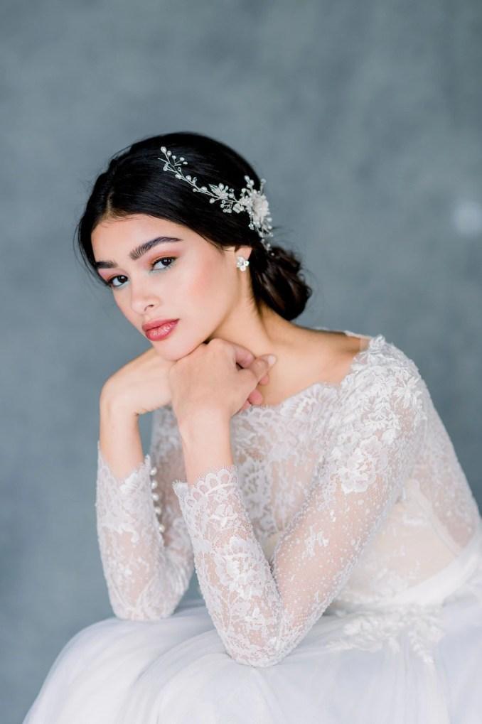 silver bridal hair comb, gold wedding hair vine, rose gold hairpiece, pearl hair clip, crystal hair accessory, flower headpiece, kelly
