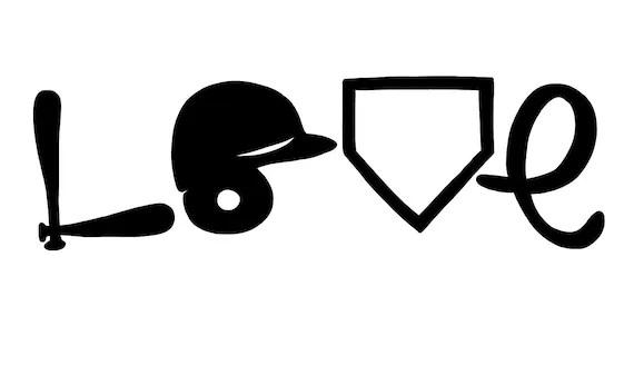 Download Baseball Love Helmet Bat Home Plate SVG File Drawn | Etsy