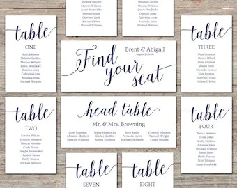 Navy seating chart template wedding cards editable printable decor also plan etsy rh