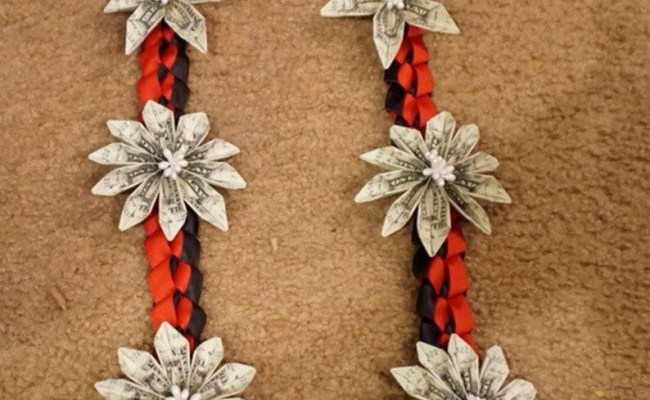 Air Force 50 Dollar Bills Money Lei with Red Patriot USMC Military Army and Blue Ribbon Flowers Navy White