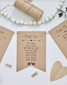 Printed rustic wedding table seating plan cards in bunting pennant style recycled kraft card twine  black ink vintage calligraphy also rh lulawithlove