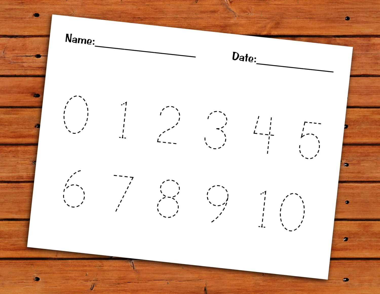 0 10 Number Trace Worksheet Printable