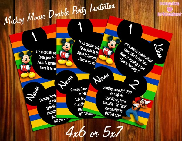 Western Themed Mickey Inspire Birthday Party Invitation Year Of