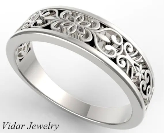 Womens Wedding Band Delicate Lace 14K Gold Wedding Ring  Etsy