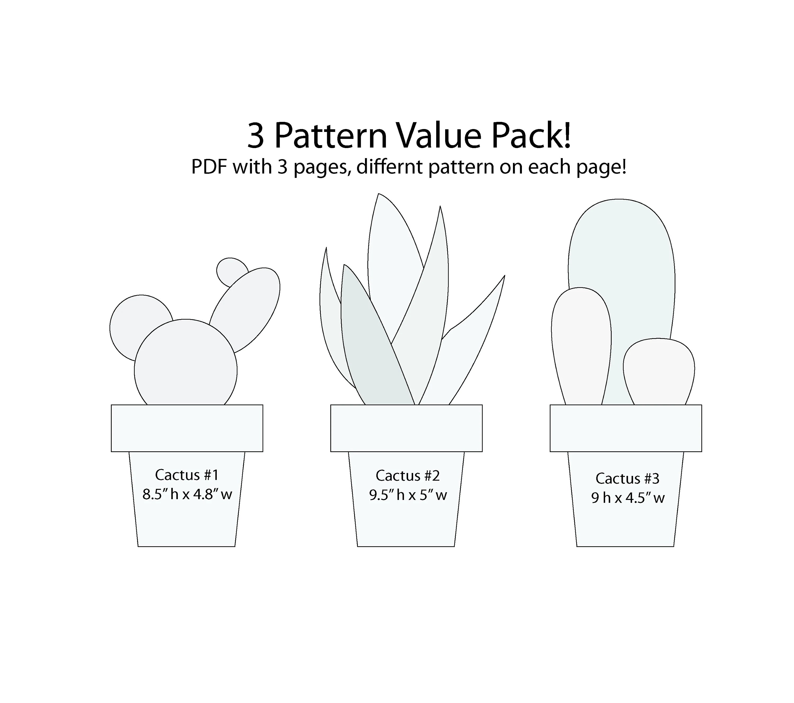 Value Pack String Art 3 Cactus Pattern Template House