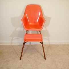 Orange Bucket Chair Baby Booster Portable Cal Dak Miller Style Fiberglass Shell High Etsy 50