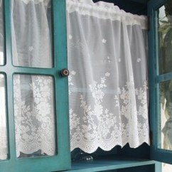 French Lace Kitchen Curtains Digital Scales Shabby Chic Etsy Pair Of Country Style Fairy Tale White Rod Pocket Rose Sheer Cafe Curtain