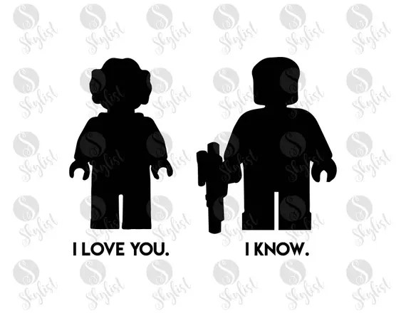 Download I love you I know lego star wars cut files for Silhouette ...