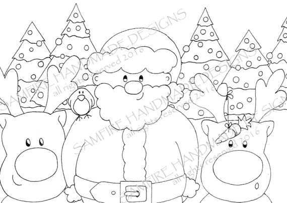 Santa Claus And Friends Coloring In Christmas Coloring Pages Etsy