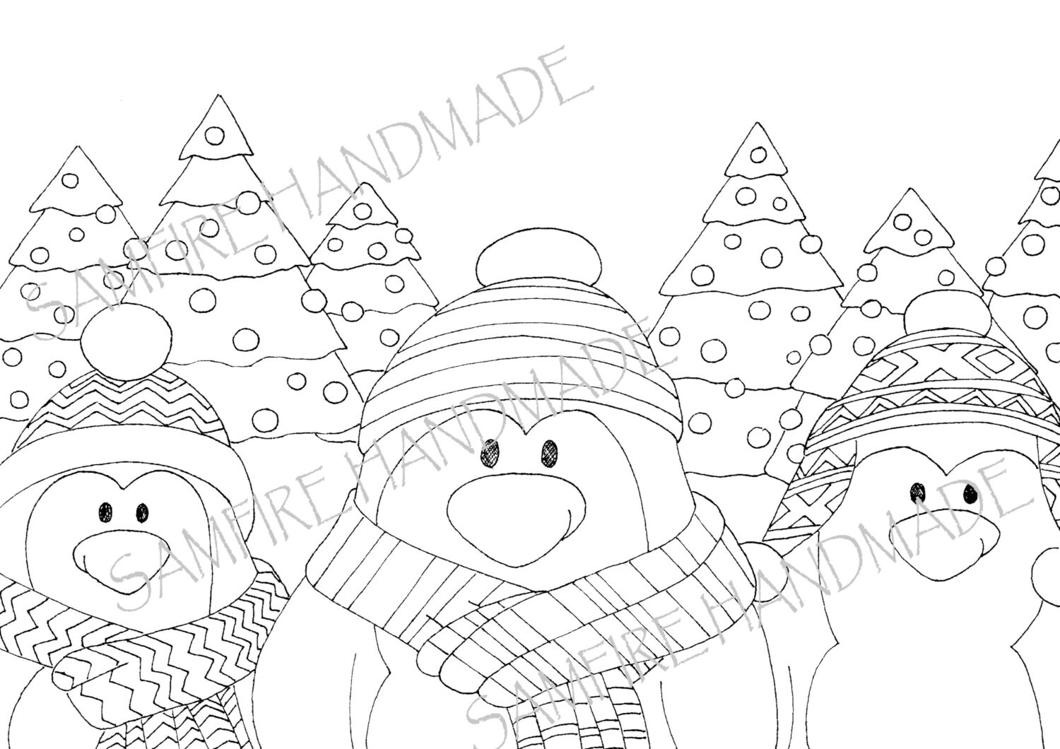 Penguin instant download colouring page-Christmas