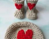 Newborn Baby Heart Hat Bootie Pattern Set Quick Simple Easy PDF Instant Download Gift Present Baby Shower