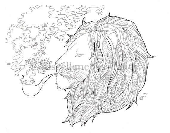 Lion Coloring Sheet Etsy