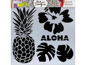 Aloha 12 x 12 Stencil designs like pineapple tropical leaves hibiscus perfect for mixed media scrapbooking journaling and more