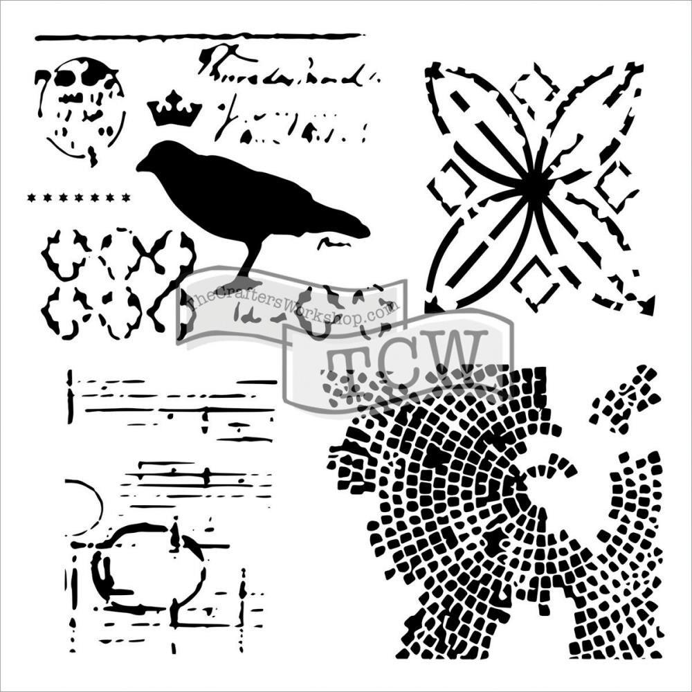 Raven Mosaics 12 x12 Stencil / template design perfect for