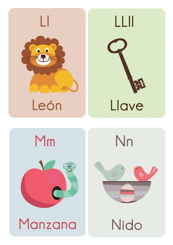 Spanish Abc Flash Cards File Printable Kids Game