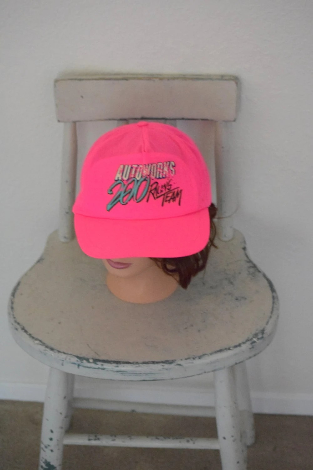 neon pink chair copa beach with canopy hot auto works racing team snap etsy image 0