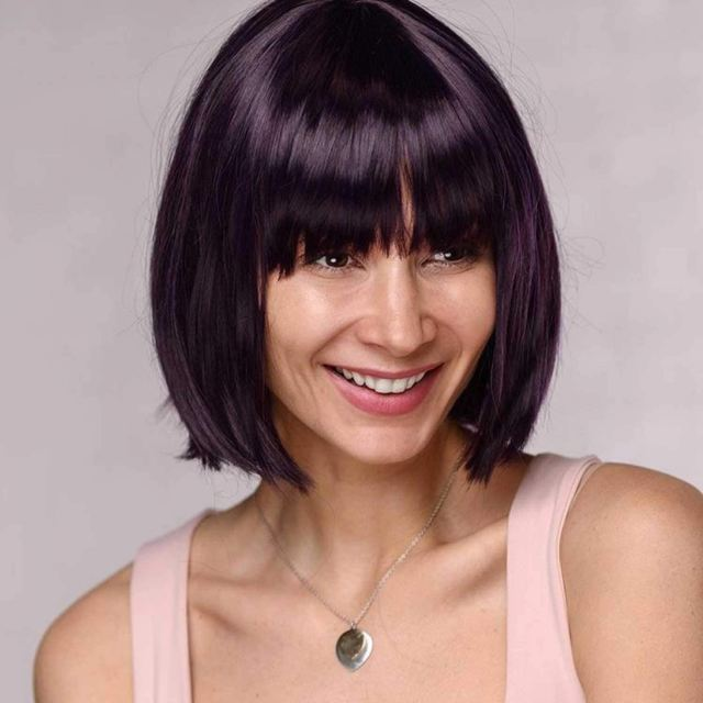 women dark purple one length bob bangs straight short hair casual costume party wig