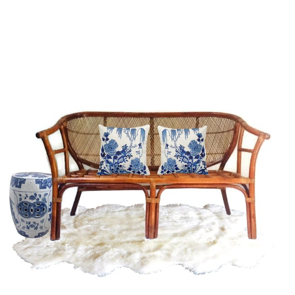 bamboo couch and chairs toddler white rocking chair rattan sofa etsy vintage settee loveseat barrel back asian philippines