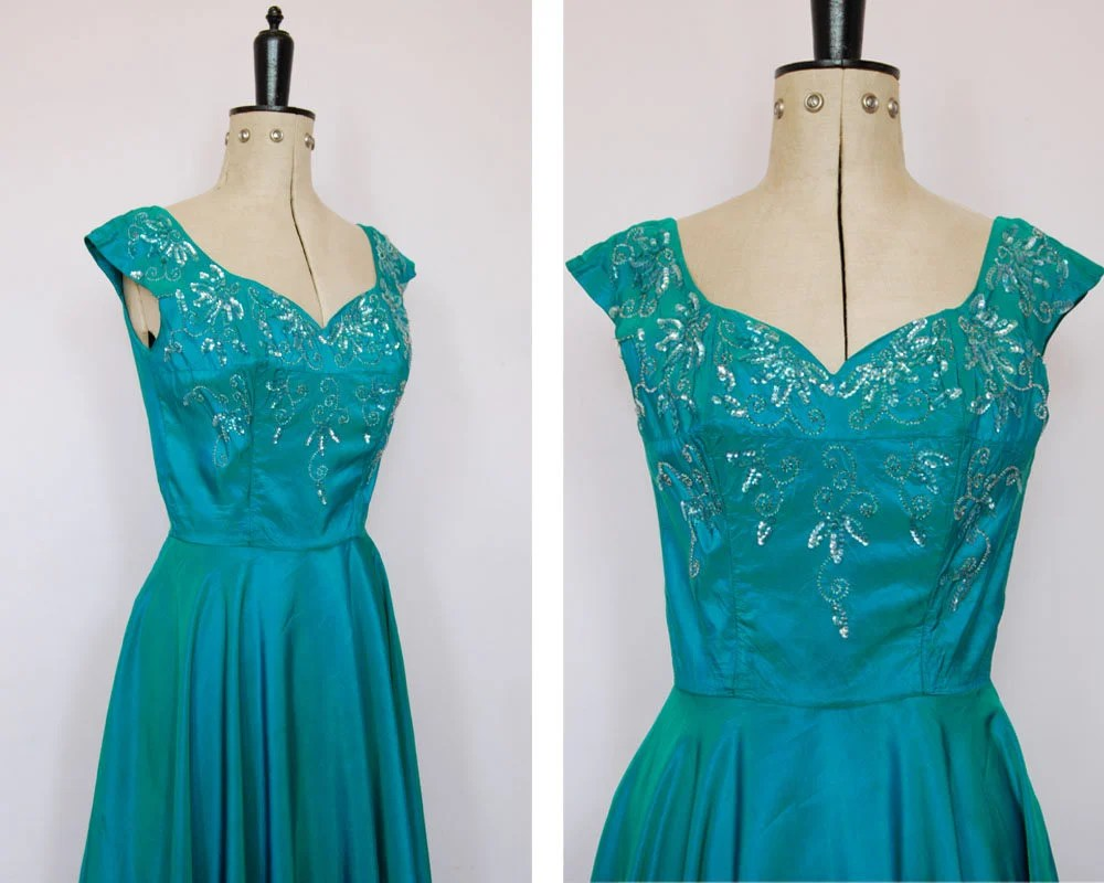 Vintage 1950s Iridescent Teal Satin Ball Gown 50s Prom