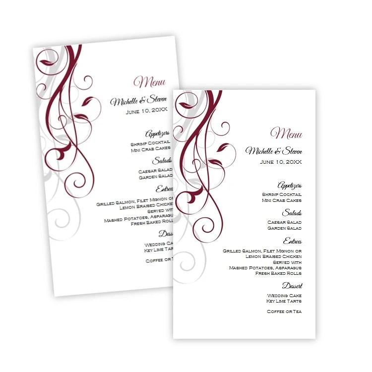 Wedding Menu Card Template Elegant Burgundy Swirls Menu