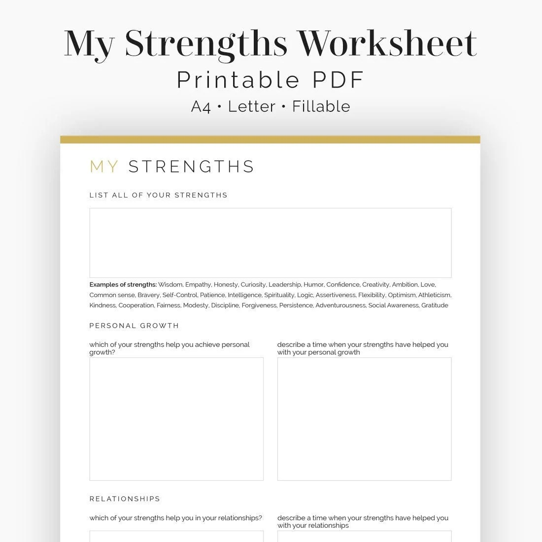 My Strengths Worksheet Fillable Printable Mental