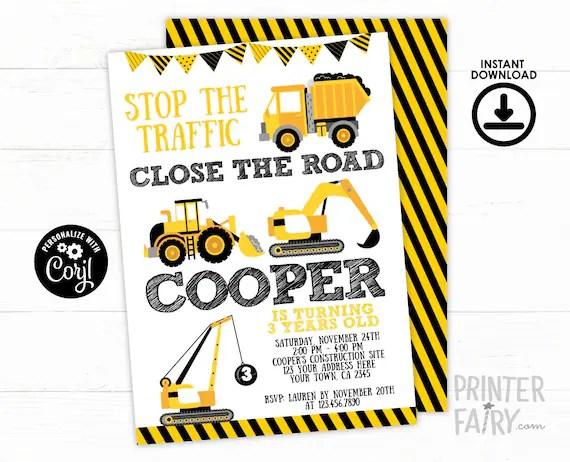 construction invitation editable