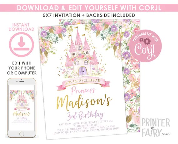 princess birthday invitation editable