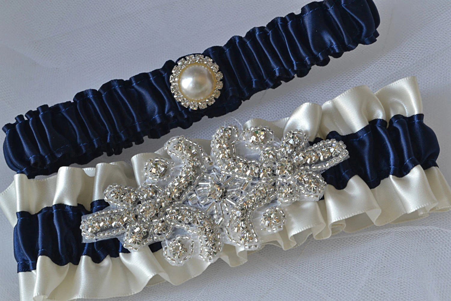 Wedding Garter Set Navy Blue Garters And Ivory Satin With