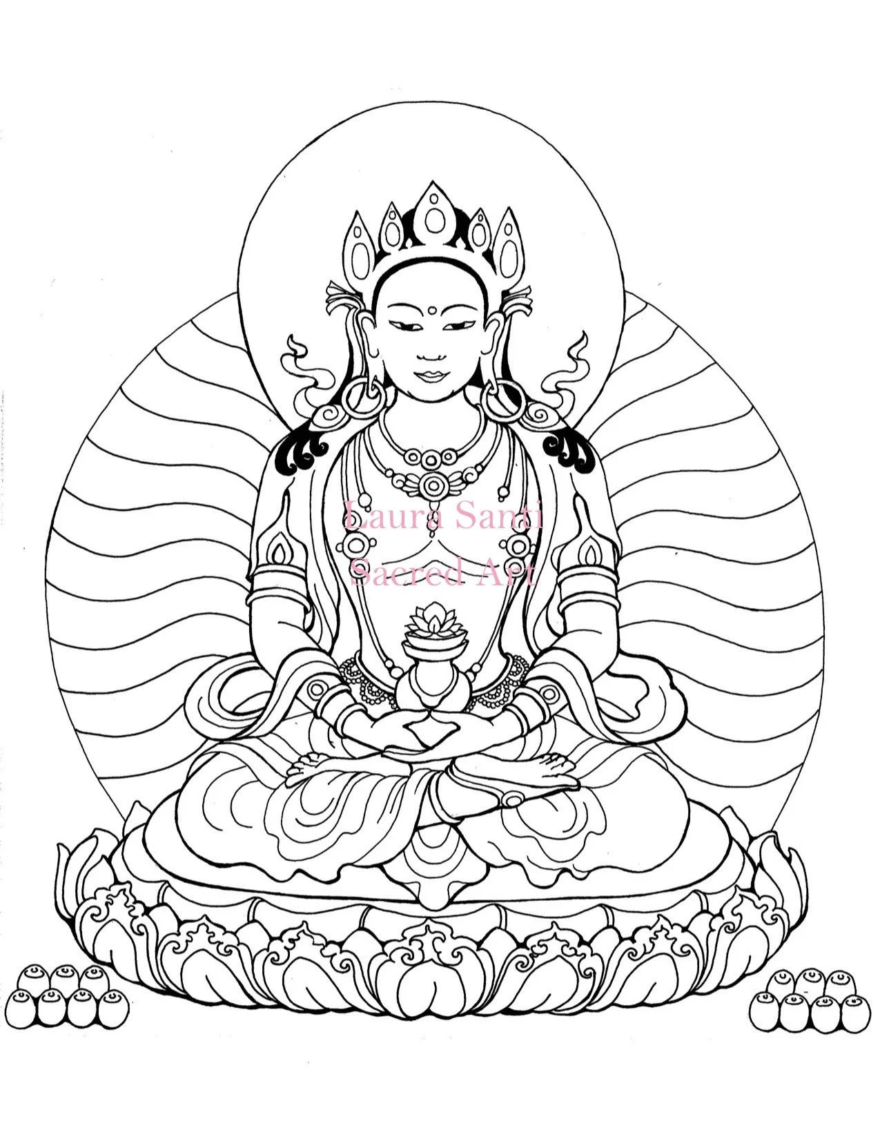 Adult coloring book page downloadable Amitayus Buddha of