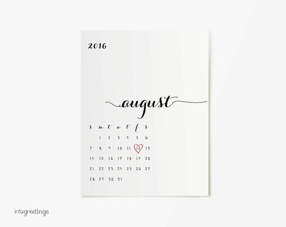 Pregnancy Announcement Calendar PRINTABLE with Heart CUSTOM